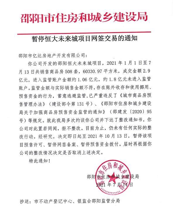 邵阳市暂停恒大未来城项目和恒大华府项目网签交易