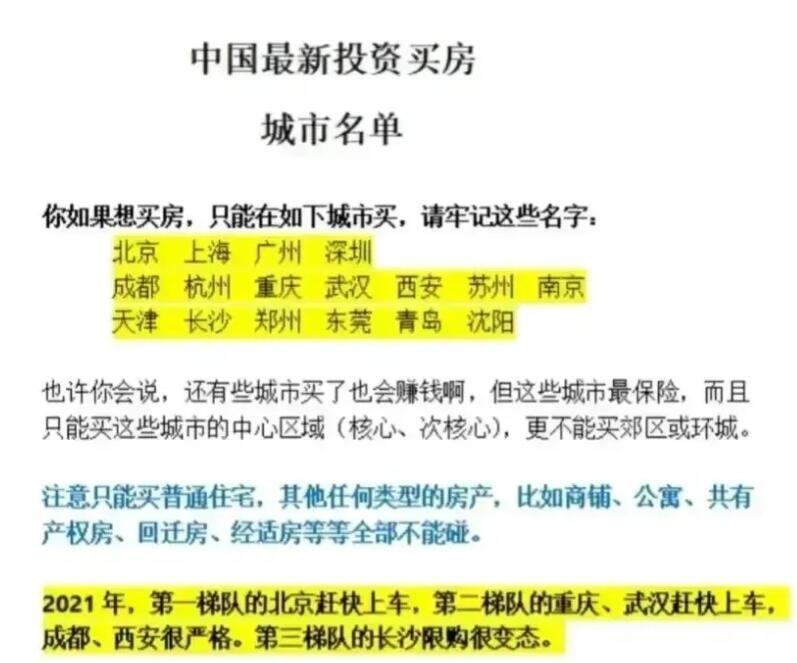 网上流传的2021年投资买房城市名单和2035年中国城市房价预测