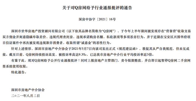 Q房网二手房网签系统使用权限被暂停使