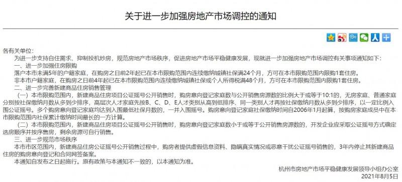 2021年杭州房地产市场调控政策