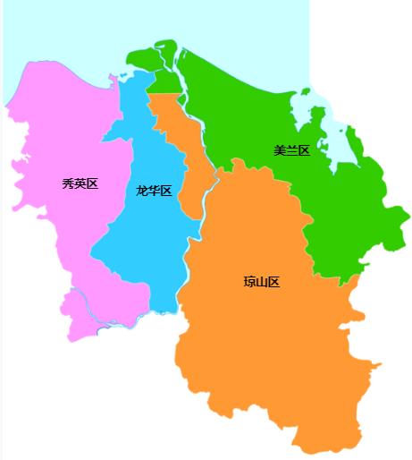 海口行政区划图:海口市辖秀英、龙华、琼山、美兰4个区